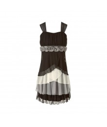 Speechless Black/Grey/Ivory Multi Tiered Dress Big Girl