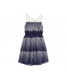 Bonnie Jean Navy Dotted Wt Lace Illusion Chifon Dress