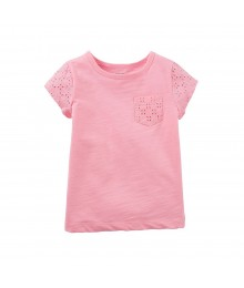 Carters Pink Tee Wt Eyelet Pocket N Sleeves Baby Girl