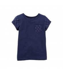 Carters Navy Tee Wt Eyelet Pocket N Sleeves Baby Girl