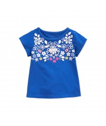First Impressions Blue Girls Tees Wt Boquet Of Flowers Print