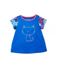 First Impressions Blue Girls Tees Wt Pussy Cat Print N Floral Print Sleeve
