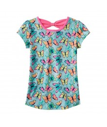 Jumping Beans Green Girls Tee Wt Multi Butterfly And Back Bow