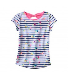 Jumping Beans Blue Stripped Floral Print Tee Wt Back Bow