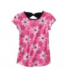 Jumping Beans Pink Floral Print Tee Wt Back Bow Little Girl