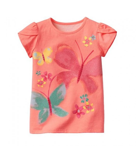 Sonoma Life+Style Orange Tee Wt Multi Butterfly Print