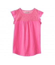 Jumping Beans Pink Tee Wt Lace Yoke Little Girl