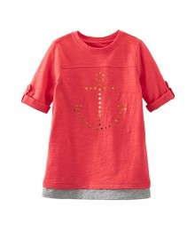 Oshkosh Bgosh Orange Top Wt Gold Anchor Star Print