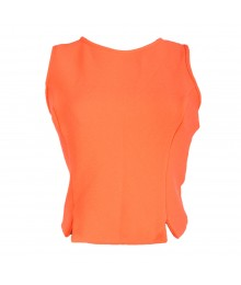 Living Doll Neon Orange Knit Crop Top Juniors