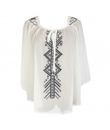 Soulmates White/Navey Embroidered Top Juniors