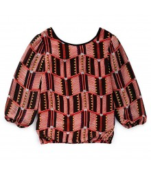 GB Girls Red/Brown Parterned Blouse