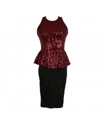 B.Darlin Burgundy/Black Sequin Peplum Dress