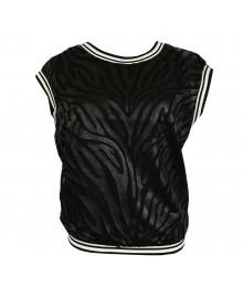Xoxo Black Zebra Print Dress Wt Mesh Top