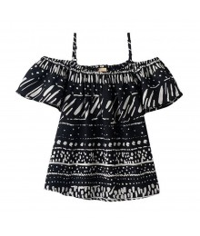 Mudd Black Tribal Print Off Shoulder Blouse