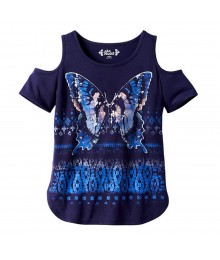 Mudd Navy Cold-Shoulder Tee Wt Butterfly Print