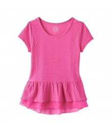 Sonoma Pink Knit Textured Peplum Top Little Girl
