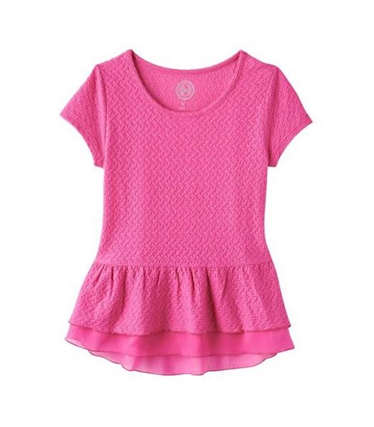 Sonoma Pink Knit Textured Peplum Top