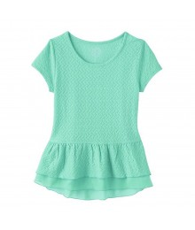 Sonoma Green Knit Textured Peplum Top Big Girl