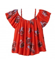 Mudd Red Floral Print Off Shoulder Blouse