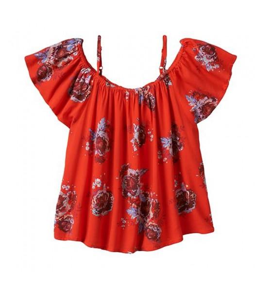 Mudd Red Floral Print Off Shoulder Blouse