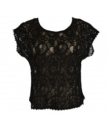 Mossimo Black Lace Crop Top Juniors