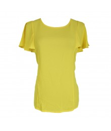 Gb Yellow Chiffon Top Wt Flutter Sleeve