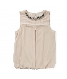 Soulmates Cream Sleeveless Wt Embelished Neckline