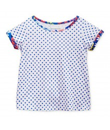 First Impressions White Wt Wt Blue Dots N Floral Hems Tee