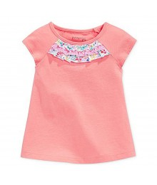 First Impressions Pink Tees Wt Multi Floral Ruffled-Neck