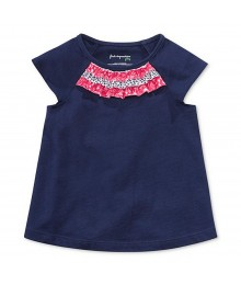 First Impressions Navy Tees Wt Multi Floral Ruffled-Neck