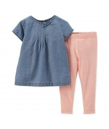 Carters Blue Denim Top N Orange Stripped  Leggings 2pc