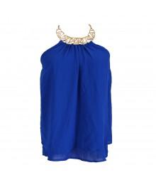 Xoxo Cobalt Blue Chiffon Wt Gold Halter Necklace