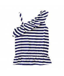 Gymboree White/Navy Stripped One-Shoulder Ruffle Top Little Girl