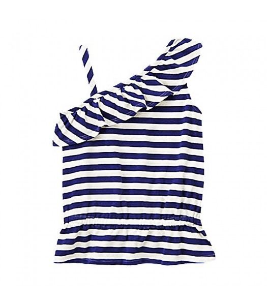 Gymboree White/Navy Stripped One-Shoulder Ruffle Top