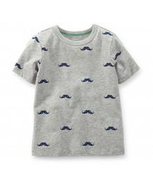 Carters Grey Tees Wt Moustache Print Little Boy