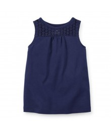 Carters Navy Lace Girls Tank Top