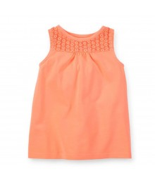 Carters Neon Orange Lace Girls Tank Top Little Girl