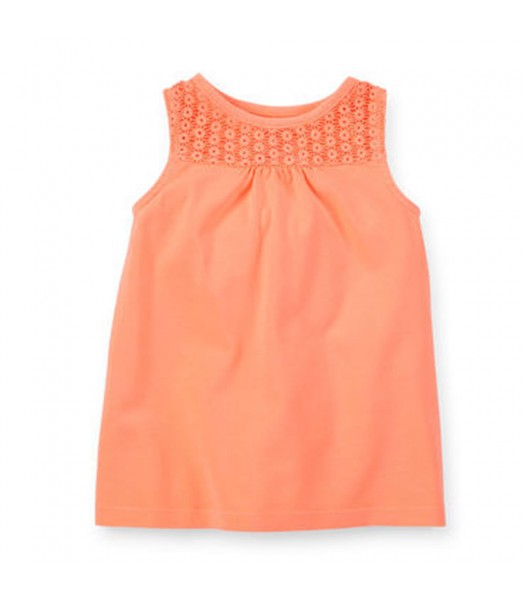 Carters Neon Orange Lace Girls Tank Top