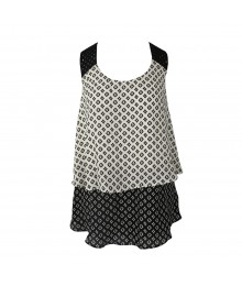 I N San Francisco Black/White Win Layered Tank Top Wt Crochet Strap Juniors