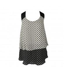I N San Francisco Black/White Win Layered Tank Top Wt Crochet Strap