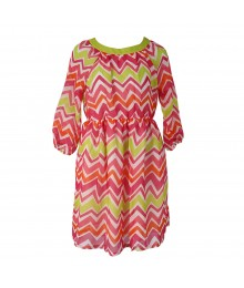 J Khaki Pink/Orange/Lime Chevron Print Chiffon 3/4 Sleeve Dress