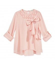 Monteau Girls Blush Pink Blouse Wt Bow Front N Crochet Neck Line Big Girl