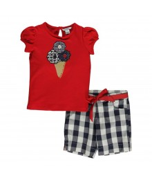 Hartstrings Red Ice Cream Tee Wt Navy/White Checkered Shorts Girls Sets