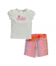 Hartstrings White Tee Wt Bicycle N Multi Pink/Orange Plaid Shorts Girls Sets