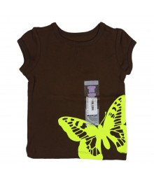 Carters Brown Tee With Lemon Butterfly