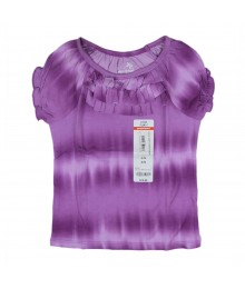 Okie Dokie Short Sleeve Tie Dye Ruffle Top-  Purple
