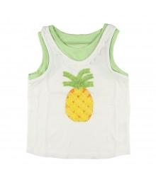 Crazy 8 Pineapple Ruffle Tank- White/Grn