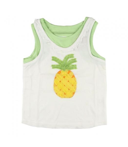 Crazy 8 Pineapple Ruffle Tank- White/Grn