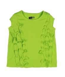 Crazy 8 Ruffle Tee- Lime Little Girl