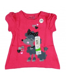 Jumping Beans Asymmetrical Glitter Pink Poodle Tee